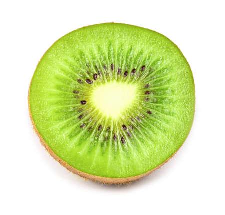 Close up of kiwi fruit and slice kiwi isolated on the white background