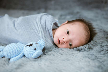 Portrait of twenty seven day old newborn asian baby boy in blue swaddling with teddy bear sleeping on blue fur bed in the studio