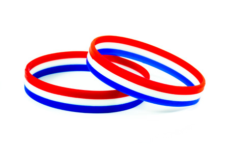 Wristband three colors,blue,white,red photo