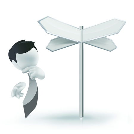 possibilities: 3D man standing in front of a Signpost