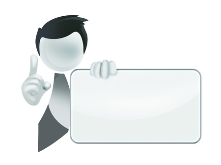 seller: 3D man holding a blank board Stock Photo