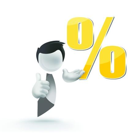 percentages: 3d man human sale percentage