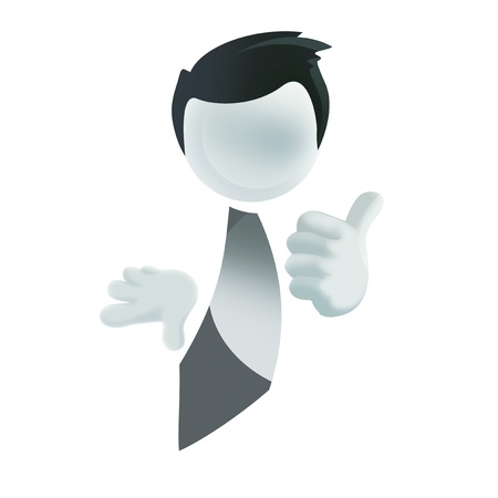 hand lifted: 3d businessman with the hand extended forward and the thumb of a hand lifted upwards. 3d image. Isolated white background.