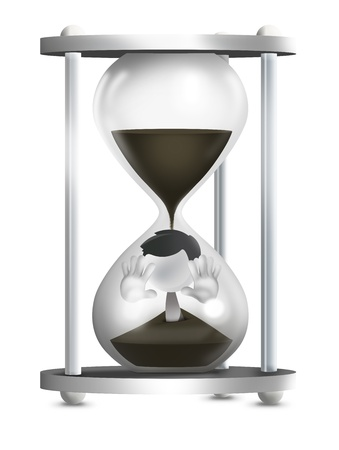 burnout: 3d man Inside The Hourglass Stock Photo