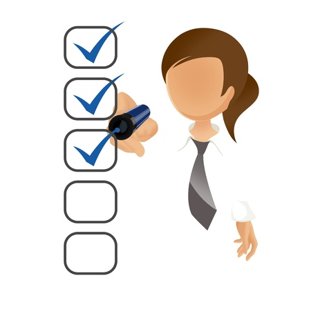 questionaire: Empresaria llenar una lista de verificaci�n en la pantalla aislado en blanco