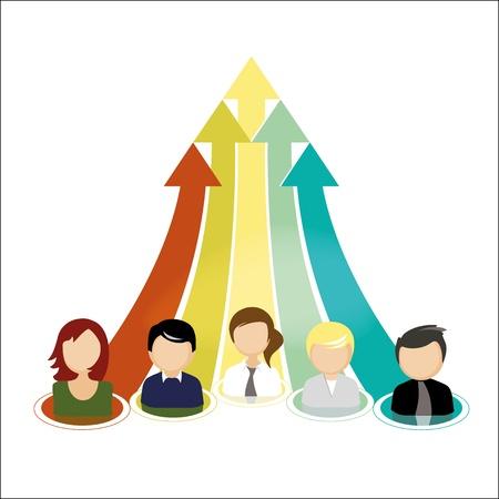 Illustration d'une équipe commerciale et le concept de travail d'équipe.