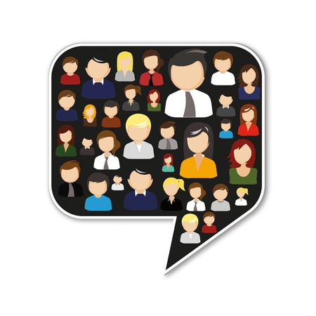 multi media: Speech bubble fatta di persone che parlano