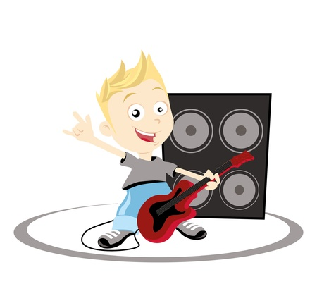 Illustration of a boy playing guitar and giving a rock and roll hand sign