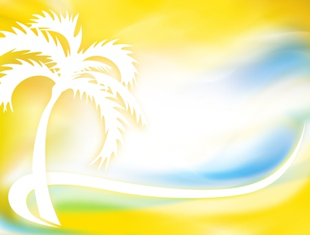 Stylized palm tree on an abstract nature background photo
