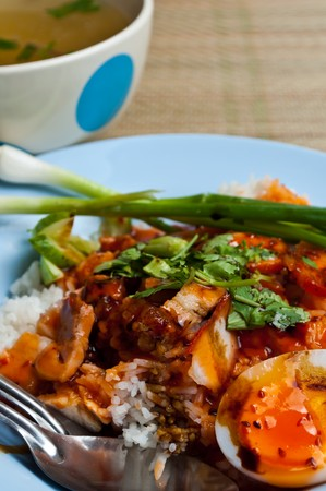 red sauce pork with rice