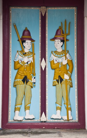 ancient art door thai temple photo