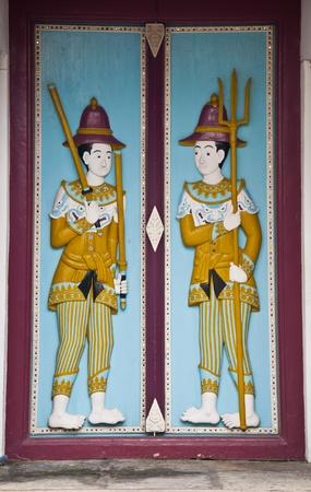 ancient art door thai temple photo