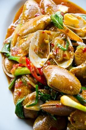 fried fresh shell and chilli Delicious thai chinese style Stock Photo