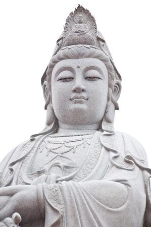 goddess of mercy: Kuan Yin image of buddha ancient sculpture Stock Photo