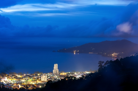 phuket viewpoint top hill see to patong beach in night time, phuket Thailand