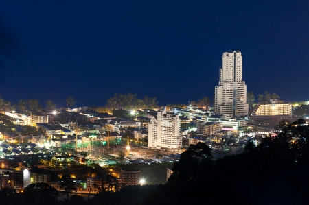 phuket viewpoint top hill see to patong beach in night time, phuket Thailand photo