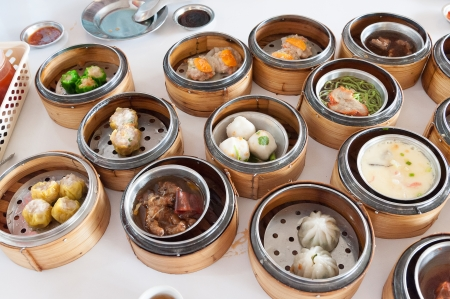 sum: variety of dim sum, traditional Thai and Chinese breakfast