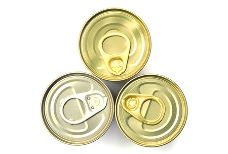 Top view of three style of food cans on white background photo