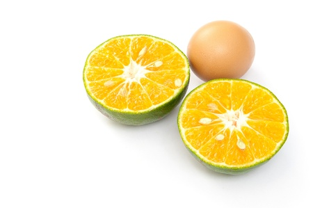 vitamin and protein, egg and orange photo