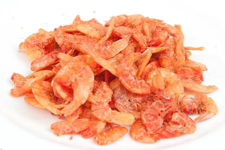 Dried shrimp on white dish