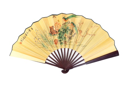 Painted hand fan with birds and flowers isolated on white background