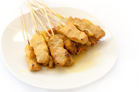 Grilled Pork Satay on white background photo
