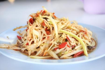 green papaya salad with small crab, Thai cuisine Stock Photo - 16193135