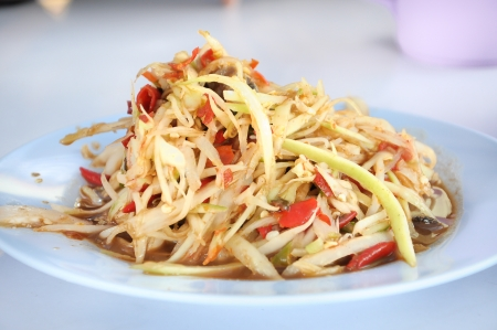 green papaya salad with small crab, Thai cuisine Stock Photo - 16193135