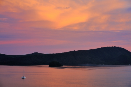 yacht in twilight Andaman sea at phuket, Thailand photo