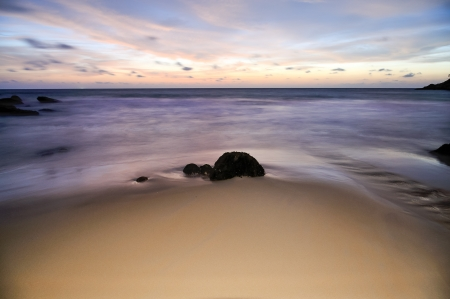 stone on the beach in twilight, laem sing beach phuket Stock Photo - 16378371