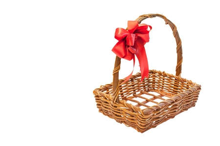 Bamboo basket isolated on white background Decorated with red ribbons on top Stock Photo - 16379244