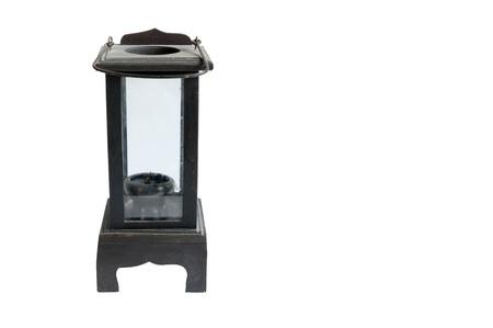 black wooden lantern isolated on white background, Thai style Stock Photo - 16378976