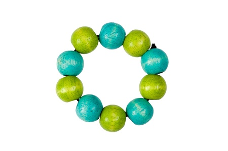 blue   green wooden beads bracelet isolated on white Stock Photo - 16534679