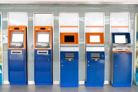 Colorful of atm machines row on public street