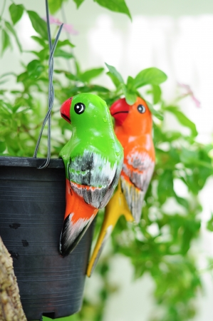 colorful parrot ceramics decorated in garden Stock Photo - 16623631