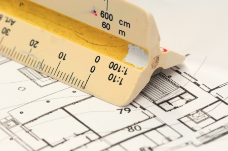 Architect s drawing tools, Architectural drawing with old scale ruler Stock Photo