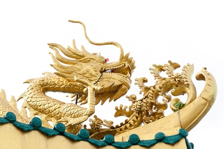 The golden China dragon in the Chinese temple in Thailand, on white background Stock Photo - 16739883