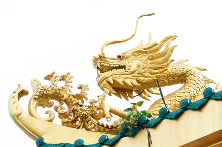 The golden China dragon in the Chinese temple in Thailand, on white background photo
