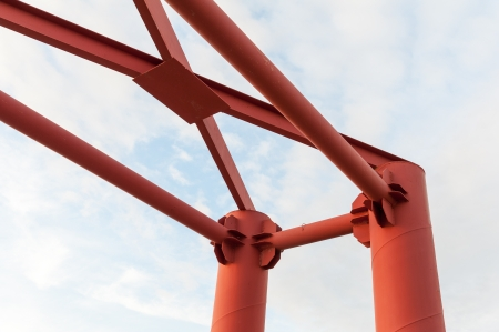 rustproof: orange metal structure for the chalong pier, phuket Thailand