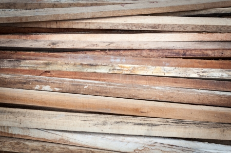 Wood planks for construction form work on field photo