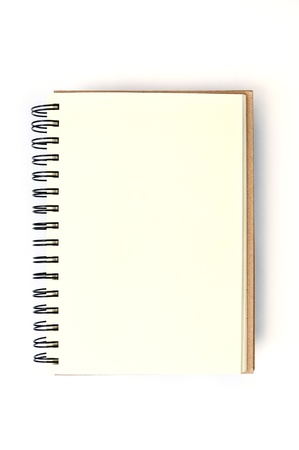 Open blank note book on white background photo