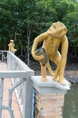 Monkey statue at mangrove forest, phuket Thailand Stock Photo - 16974548