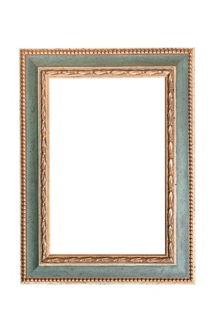 green and golden picture frame isolated on white background photo