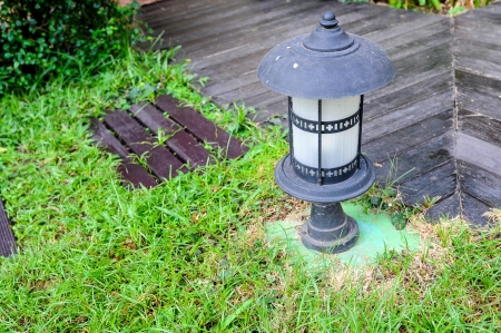 lamp on gardening wooden pathway Stock Photo - 17266084