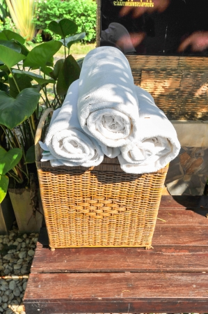 white towel in basket for spa photo