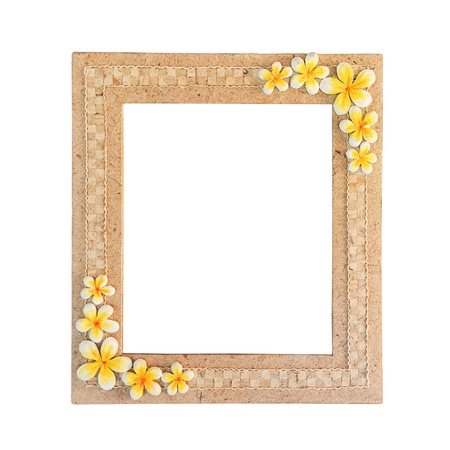 hand craft photo frame with frangipani paper isolated on white background photo