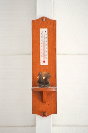 wooden thermometer on wall photo