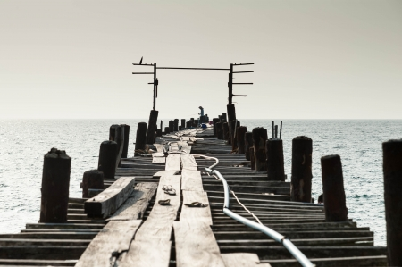 wooden fisherman bridge, pang-nga Thailand Stock Photo - 17594790