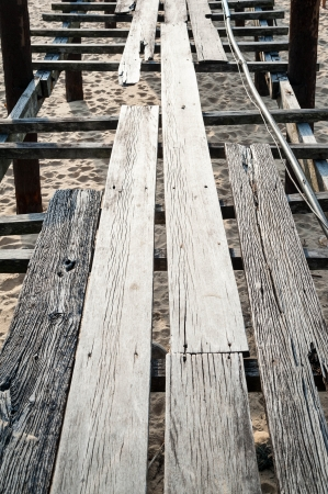 Detail of wooden bridge photo