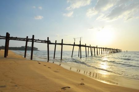 wooden fisherman bridge, pang-nga Thailand Stock Photo - 17594939